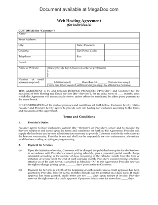Picture of Web Hosting Agreement for Individual Customers