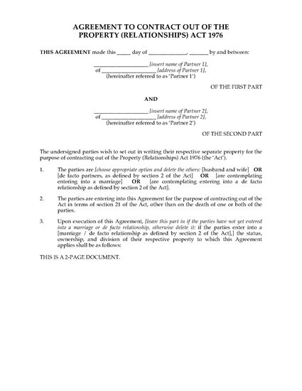 Picture of New Zealand Agreement to Contract Out of Property (Relationships) Act