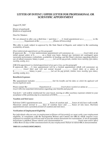 Picture of Offer for Appointment to Scientific Position | USA