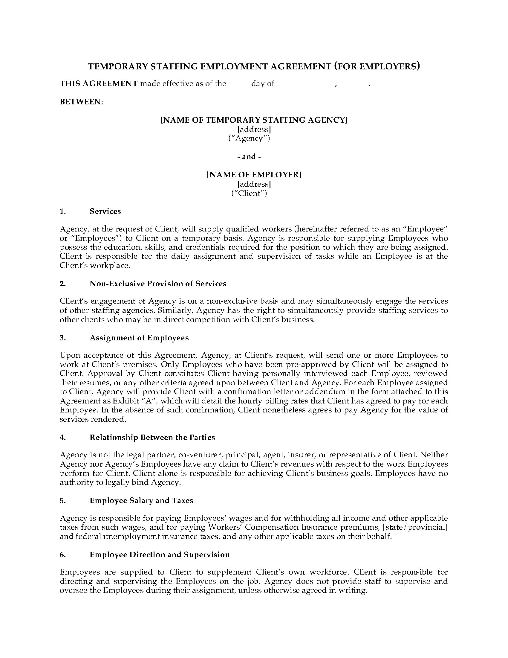 temporary employment contract template free - temporary staffing agreement form legal forms and