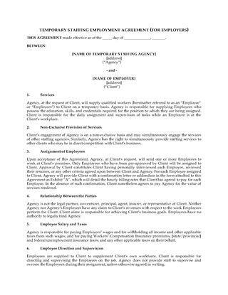 Picture of Temporary Staffing Agreement