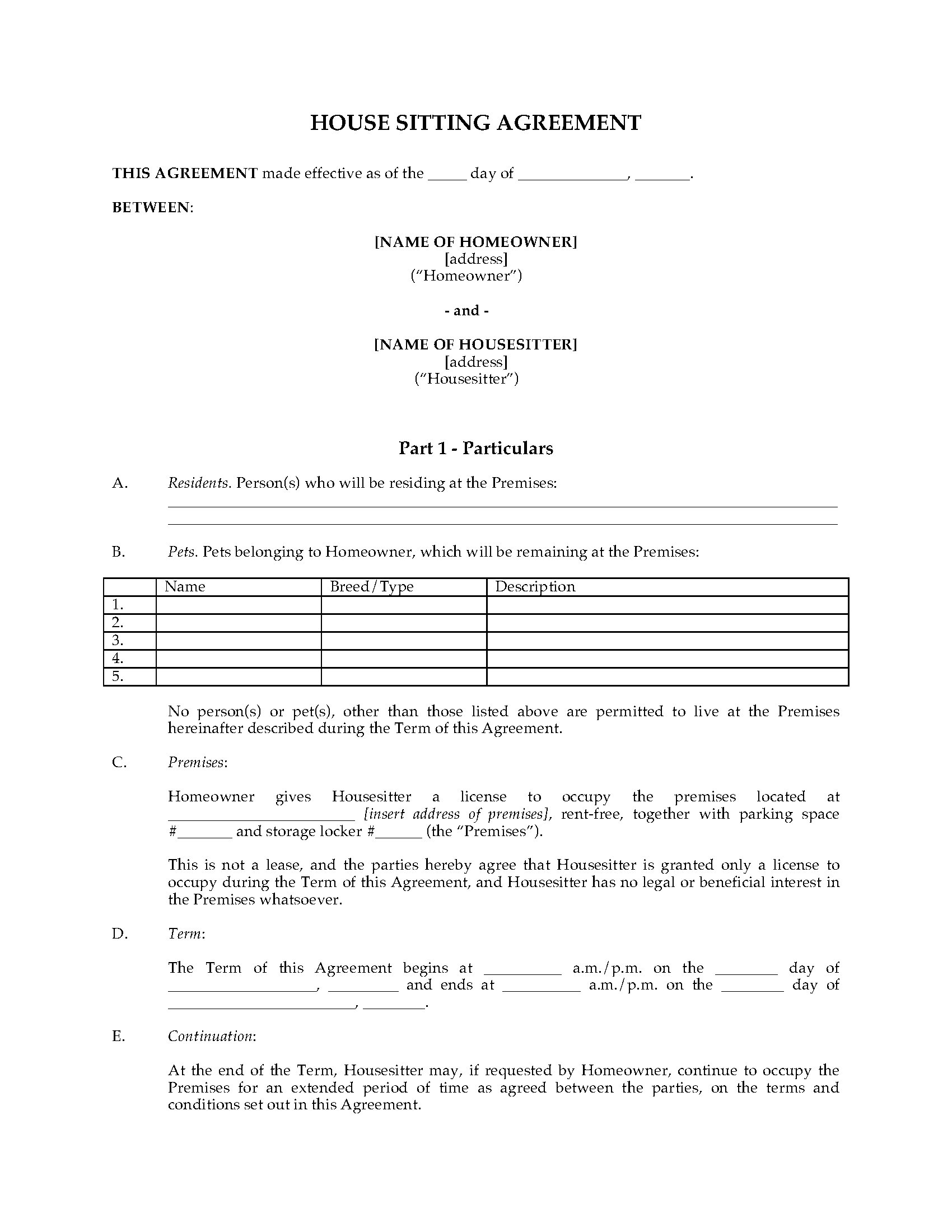 House sitting agreement template legal forms and business picture of house sitting agreement platinumwayz
