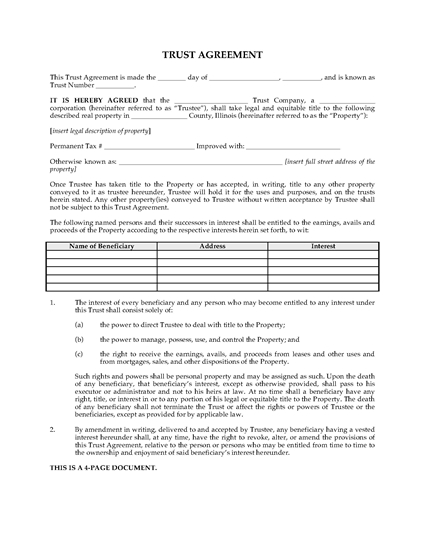 Picture of Illinois Land Trust Agreement