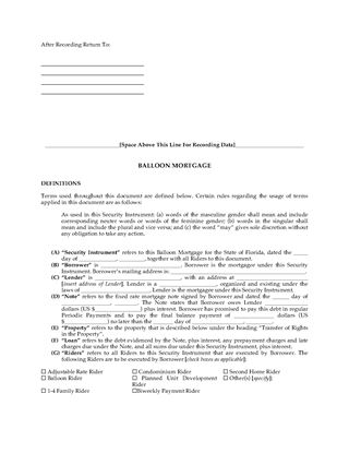 Florida Mortgage Forms | Legal Forms And Business Templates