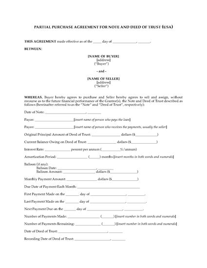 Picture of USA Partial Purchase Agreement for Note and Deed of Trust