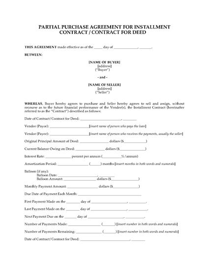 Picture of USA Purchase Agreement for Contract for Deed