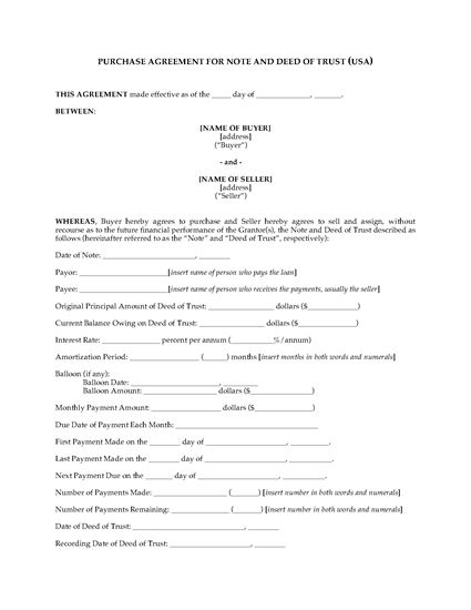 Picture of USA Purchase Agreement for Deed of Trust