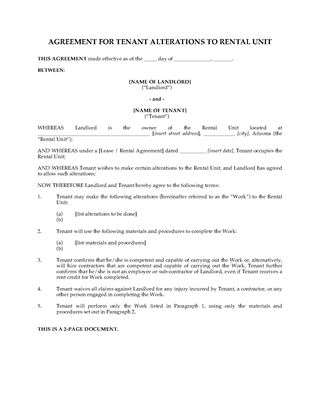 Picture of Arizona Agreement for Tenant Alterations