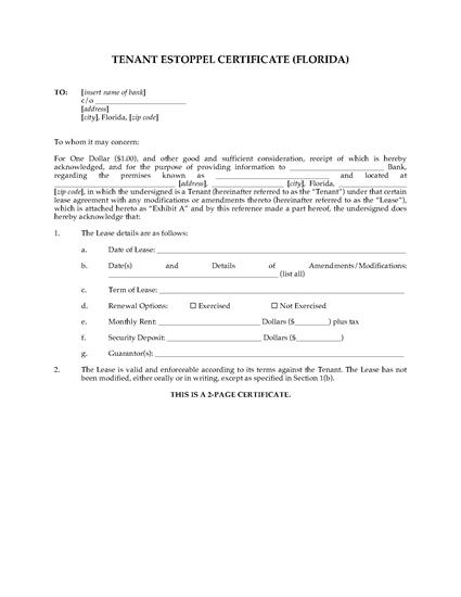 Picture of Florida Commercial Tenant Estoppel Certificate