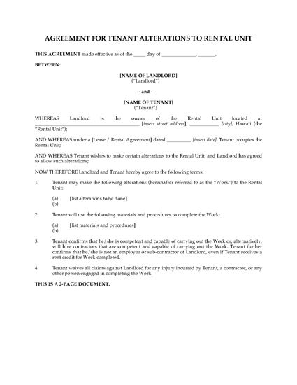 Picture of Hawaii Tenant Agreement for Alterations to Rental Unit