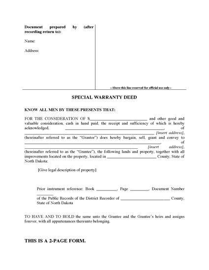 Picture of North Dakota Special Warranty Deed