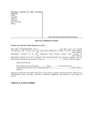 Picture of Alabama Special Warranty Deed