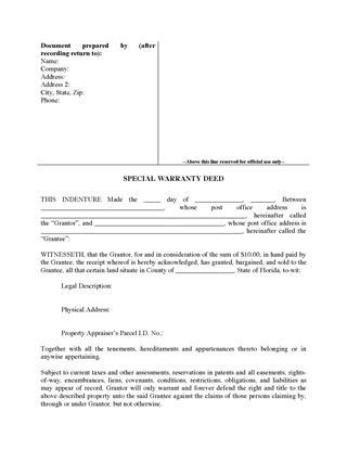 Picture of Florida Special Warranty Deed