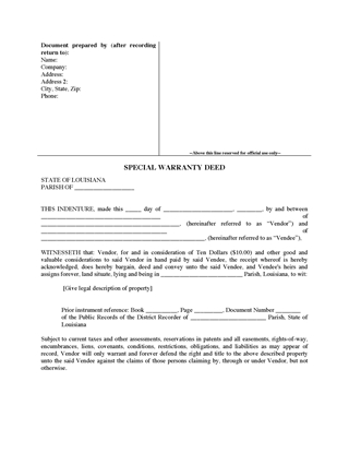 Picture of Louisiana Special Warranty Deed
