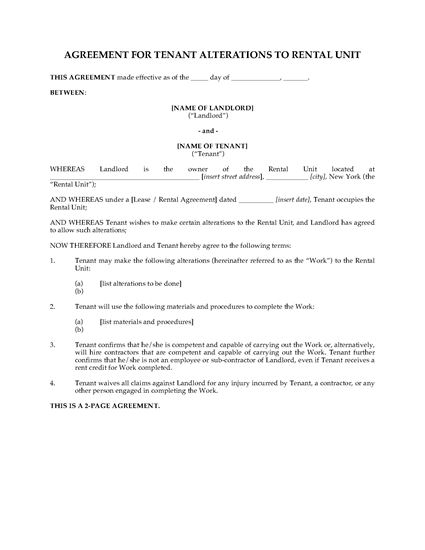 Picture of New York Tenant Agreement for Alterations to Rental Unit