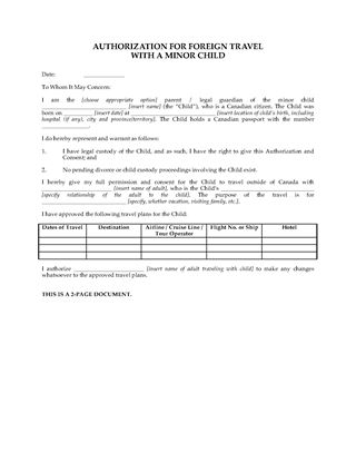 Picture of Canada Parental Authorization for Foreign Travel with Minor