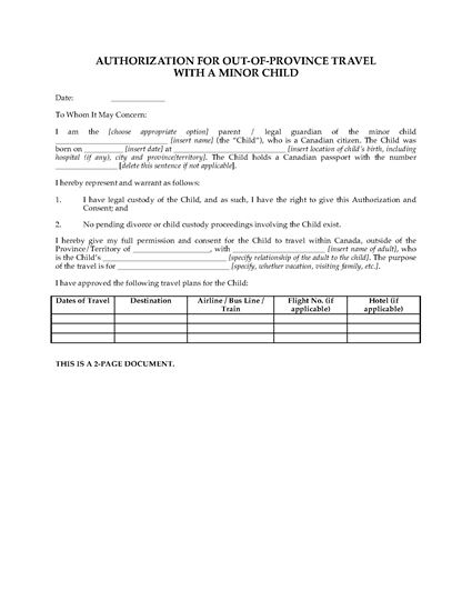 Picture of Canada Parental Authorization for Travel with Minor Child