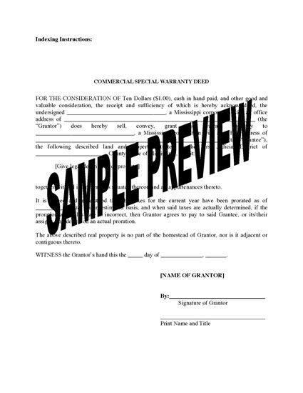 Picture of Mississippi Special Warranty Deed