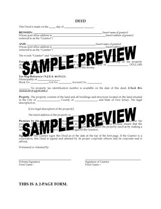 Picture of New Jersey Bargain and Sale Deed with Covenants