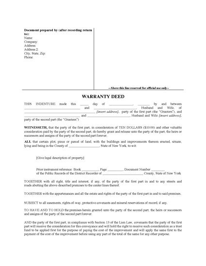Picture of New York Warranty Deed for Joint Ownership