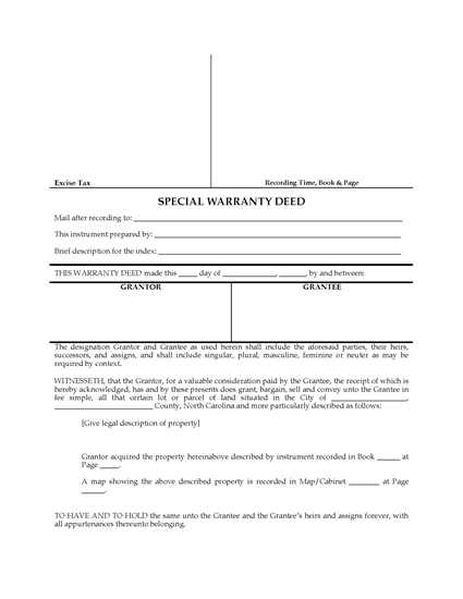Picture of North Carolina Special Warranty Deed