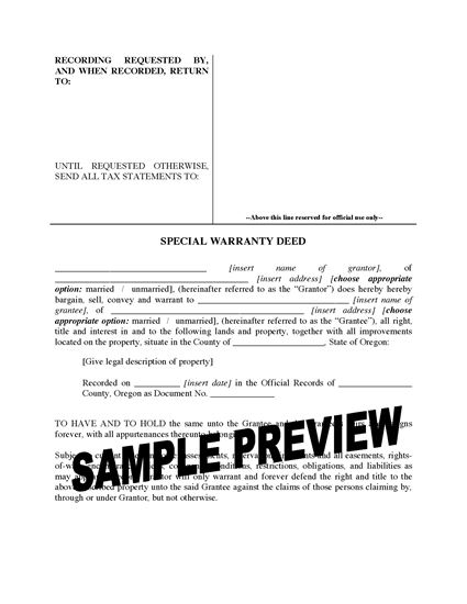 Picture of Oregon Special Warranty Deed