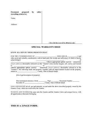 Picture of Rhode Island Special Warranty Deed