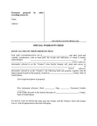 Picture of South Dakota Special Warranty Deed