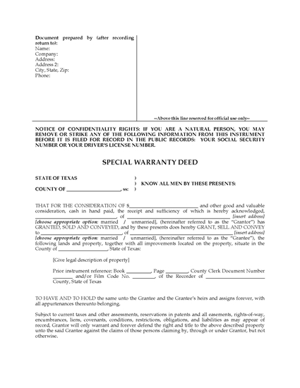 Picture of Texas Special Warranty Deed