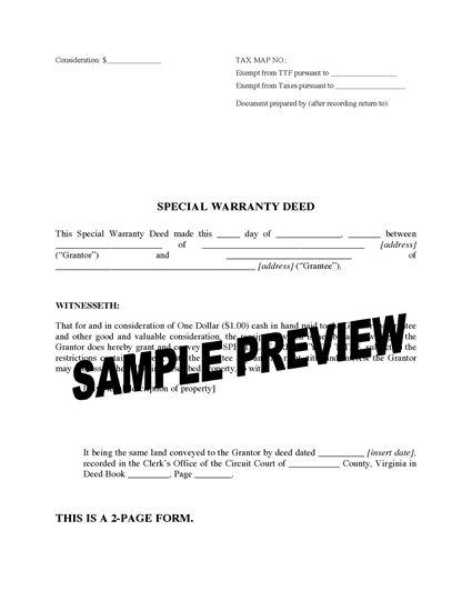 Picture of Virginia Special Warranty Deed