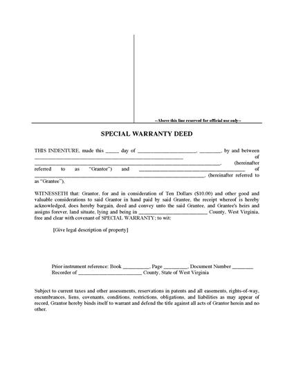 Picture of West Virginia Special Warranty Deed