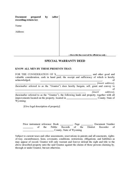 Picture of Wyoming Special Warranty Deed