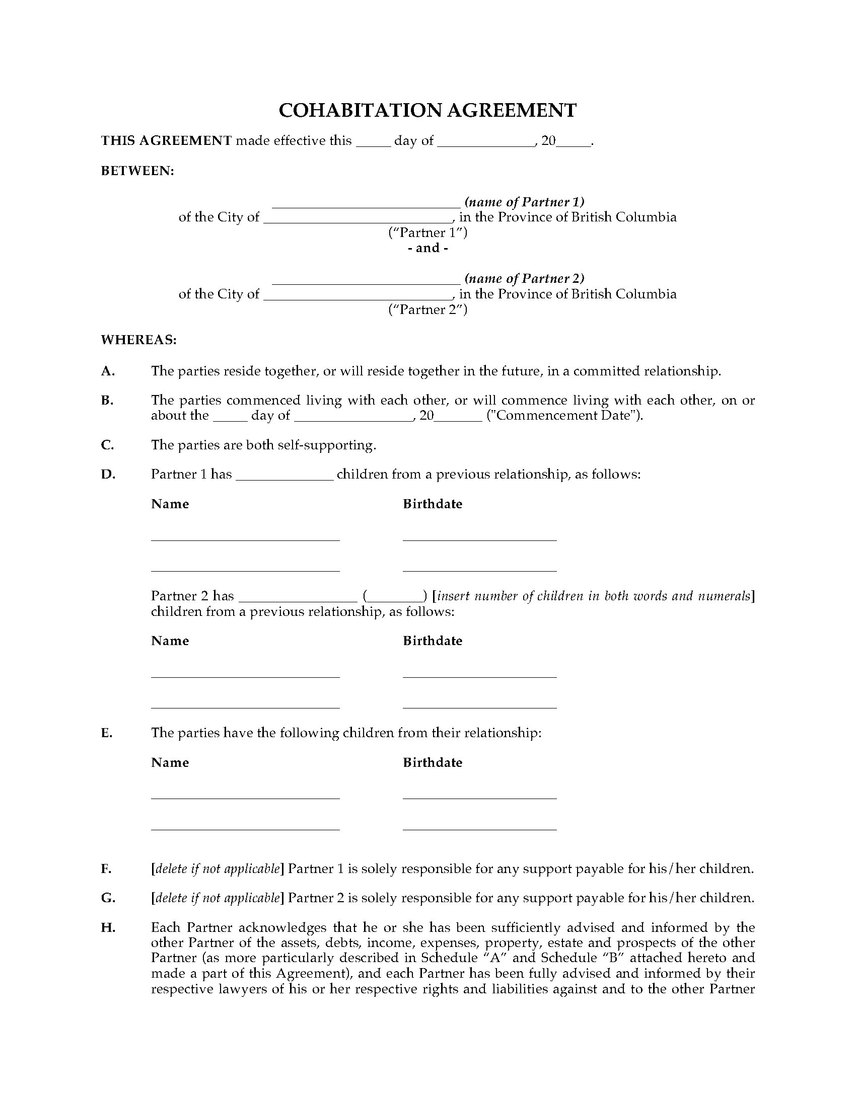 British Columbia Cohabitation Agreement Legal Forms And Business