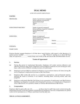 Picture of Motion Picture Crew Deal Memo (Non-Union) | USA