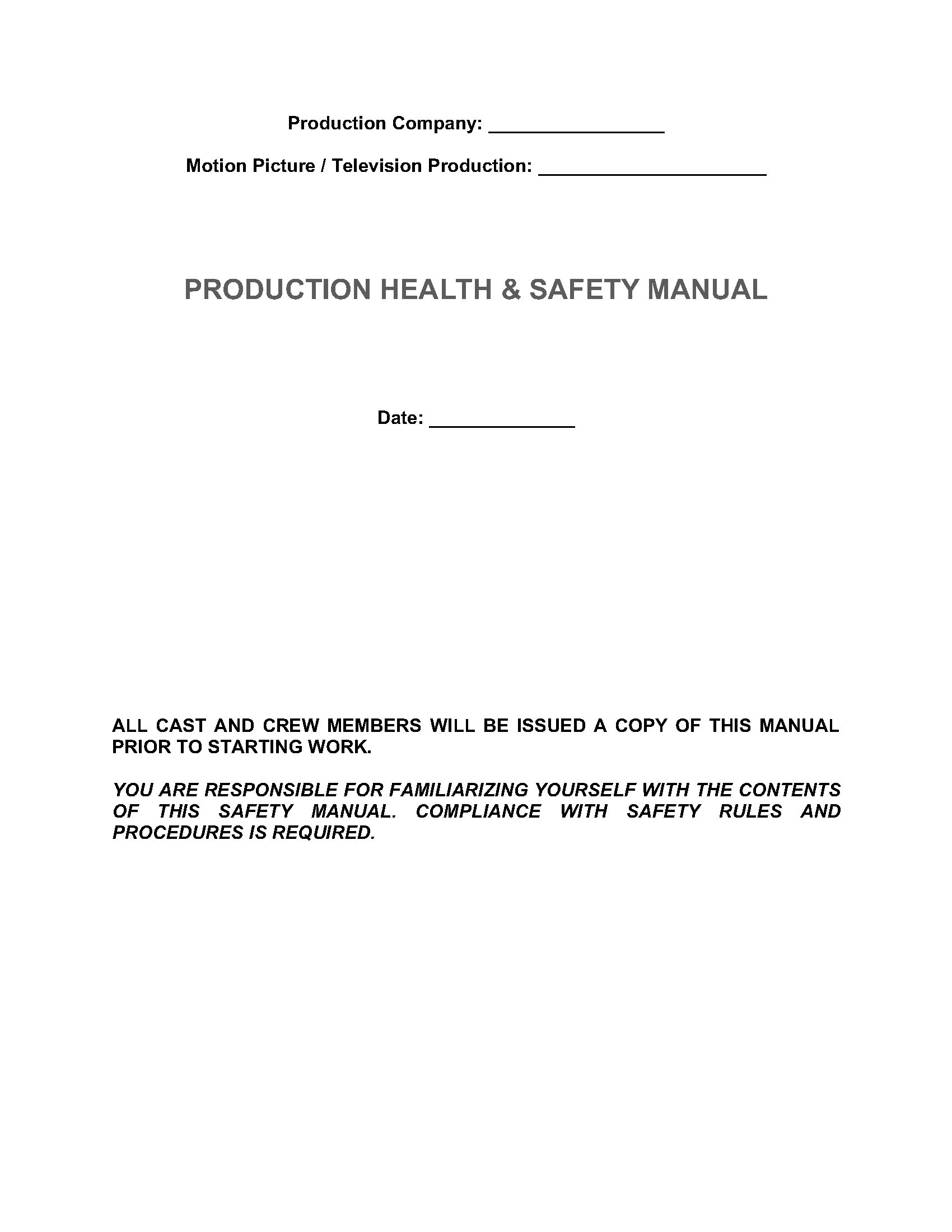 company health and safety manual