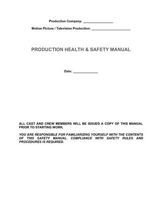 Picture of Film Production Health and Safety Manual