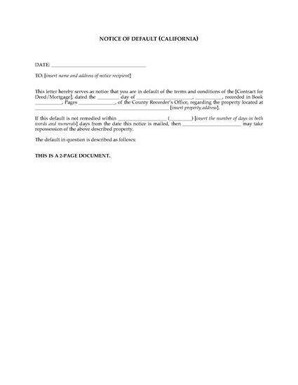 Picture of California Notice of Default