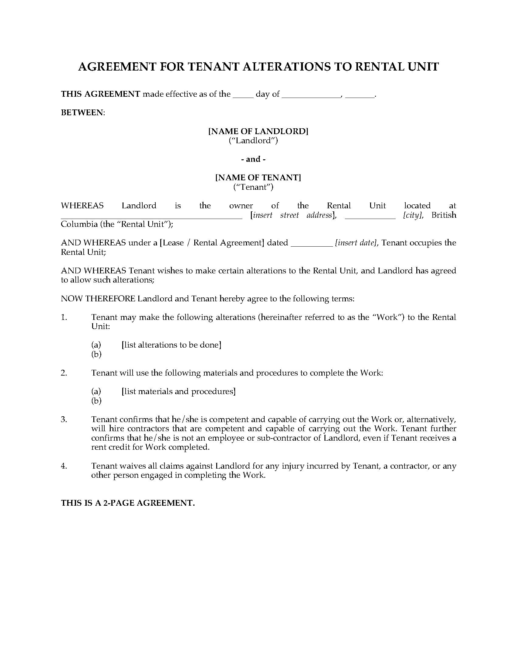 Bc Agreement For Tenant Alterations Legal Forms And Business