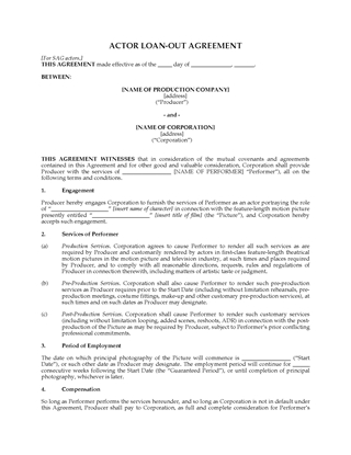 Picture of Actor Loan Out Agreement for SAG actors   USA