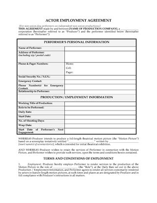 Picture of Actor Employment Agreement for Non-Union Day Performers
