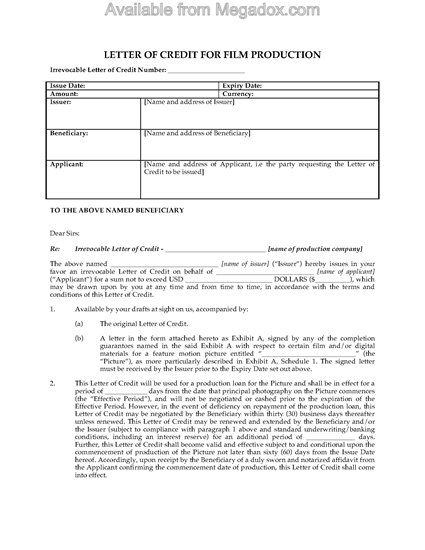 Picture of Film Production Letter of Credit