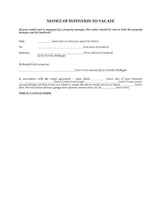 Picture of Michigan Notice to Landlord of Intention to Vacate