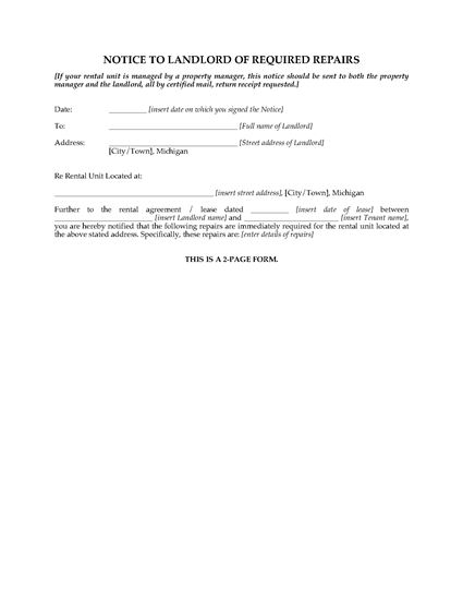 Picture of Michigan Notice to Landlord of Required Repairs