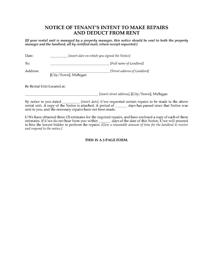 Picture of Michigan Notice of Tenant's Intent to Make Repairs and Deduct from Rent