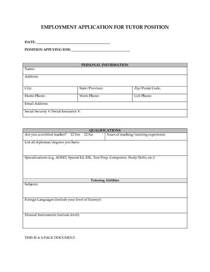 Picture of Employment Application for Tutoring Position