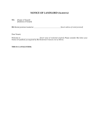 Picture of Alberta Notice of Landlord