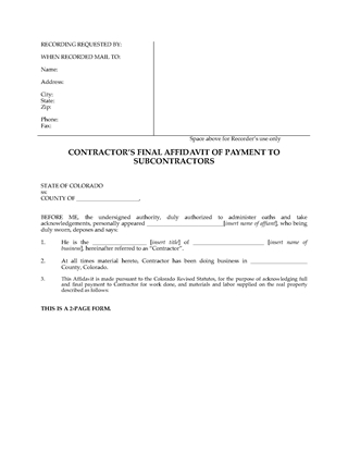 Picture of Colorado Final Affidavit of Payment to Subcontractors