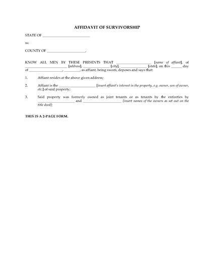 Picture of Affidavit of Survivorship | USA