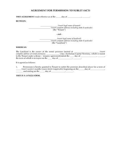 Picture of ACT Landlord's Permission to Sublet