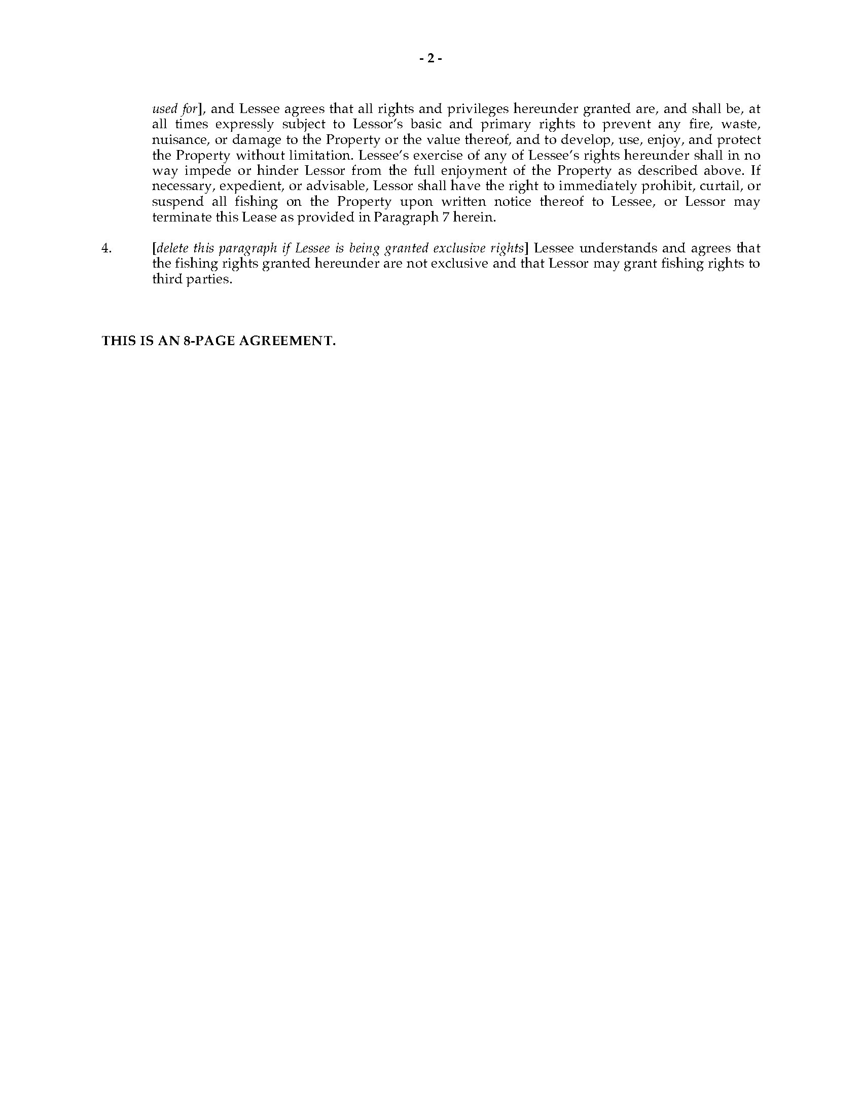 West Virginia Fishing Lease Agreement